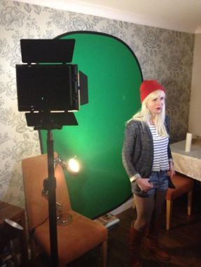 Clare Duffin infront of green screen - Suspire Moon Shine Video Shoot